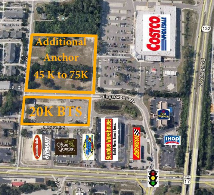 Build to Suite Options at the corner of Market Street (Hwy 17) and S College Rd (I-40).